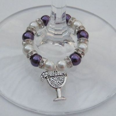 Cocktail Glass Wine Glass Charm - Full Sparkle Style
